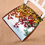 Custom Autumn Prime Trees Red and Yellow Maple Leaves Seat Cushion Chair Cushion Floor Cushion Twin Sides 18x18 inches