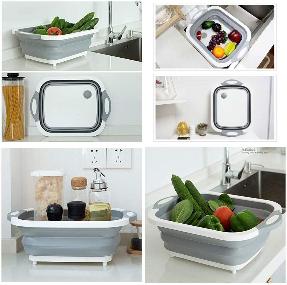 Collapsible Fold Cutting Board with Dish Tub Space Save Folding Washing Bowl Draining Basket Basin Sink Colander with Plug Chopping Slicing Board Wash Strainer for Camping Picnic BBQ Kitchen