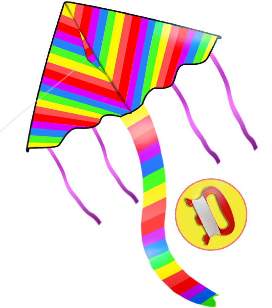 US Sky Kite Colorful Triangle Rainbow Kite With Flying Tools