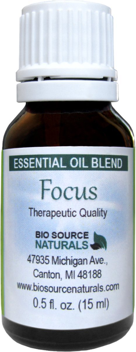 Focus Essential Oil Blend - 1 fl oz / 30 ml - Energy Balancing - Therapeutic Quality by BioSource Naturals