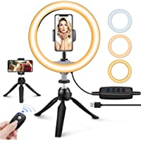 "10"" LED Ring Light with Tripod Stand & Phone Holder, UBeesize Dimmable Desk Makeup Ring Light, Perfect for Live…"