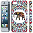 [TeleSkins] - iPhone SE / iPhone 5S / iPhone 5 Hardshell Case - Tribal Floral Indian Elephant Art - Ultra Durable Slim & HARD PLASTIC Highly Protective Vibrant Snap On Designer Sublimation Back Case
