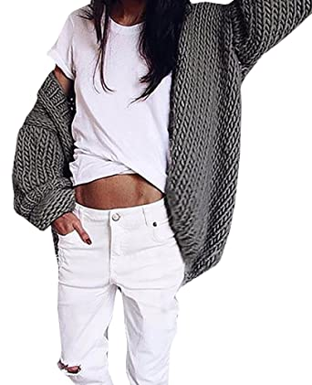 b7d468b3ac87a Bbalizko Womens Puff Sleeve Oversized Cable Knit Cardigan Chunky Sweater  Warm Coat at Amazon Women s Clothing store