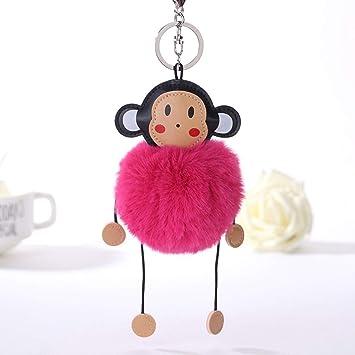 Amazon.com  Key Chain Rings for Men Fluffy Artificial Bunny Fur Ball ... 826b81062c