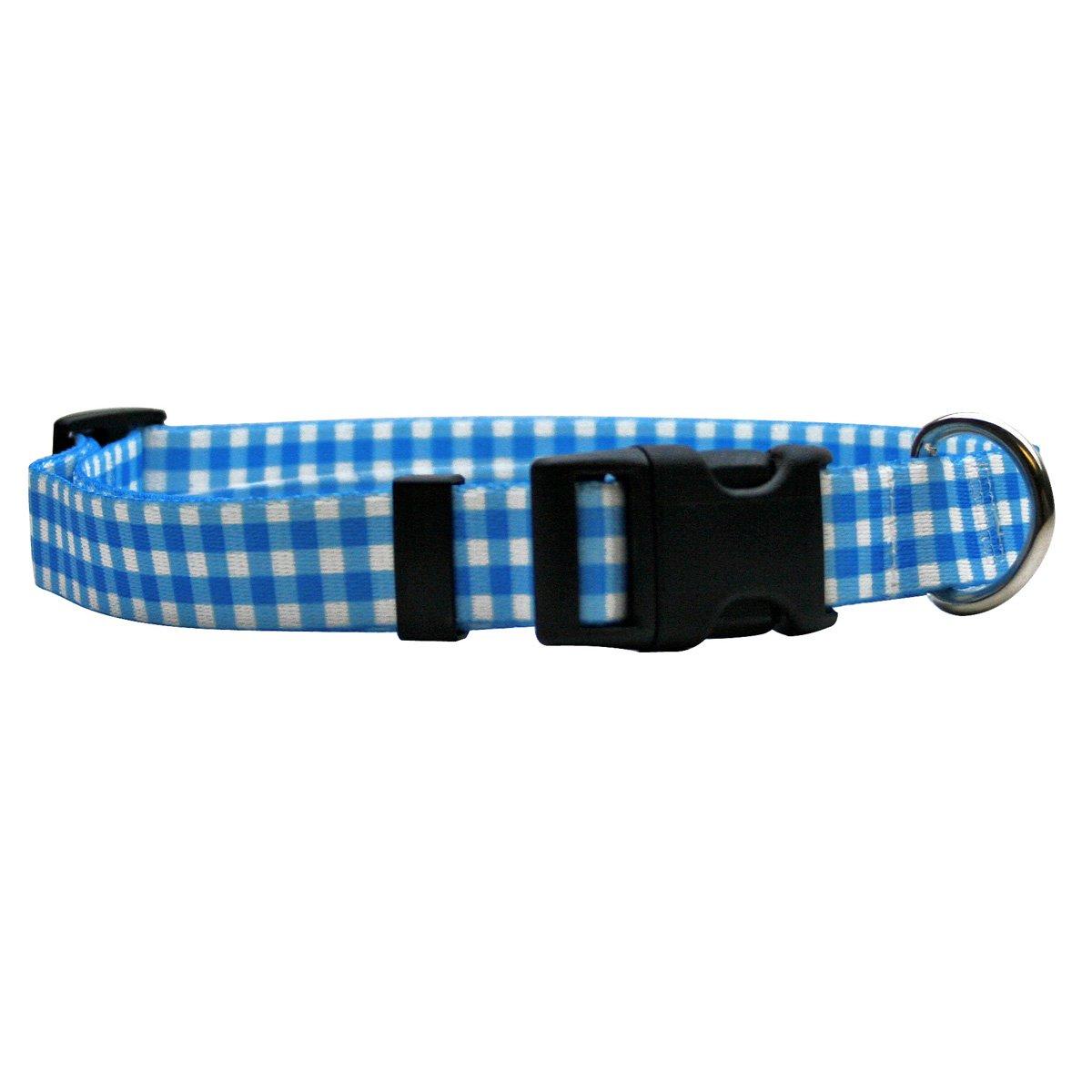 Yellow Dog Design Gingham Blue Dog Collar Fits Neck 14 to 20'', Medium 1'' Wide