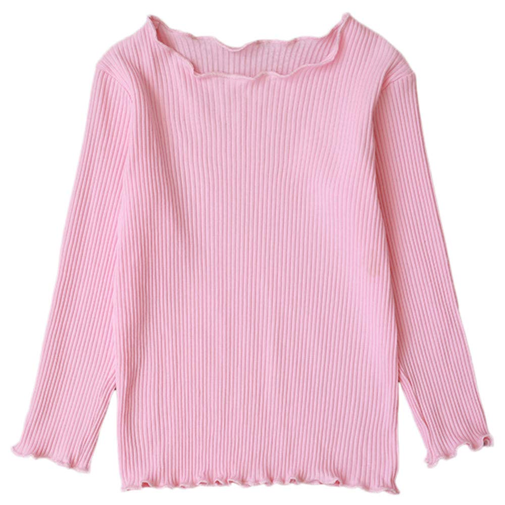 Clearance sale Children Kid Baby Girl Boy Long Sleeve Solid Tops Shirts Tee Casual Clothes (6-12 M, Watermelon Red)