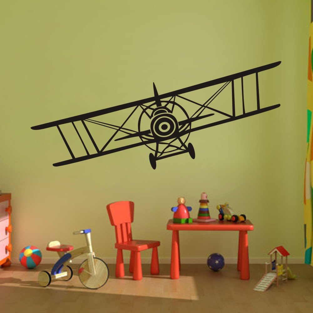 amazon com vinyl airplane wall decal biplane wall sticker amazon com vinyl airplane wall decal biplane wall sticker airplane wall art decor nursery wall grahpic wall mural boy room wall decoration dark brown home