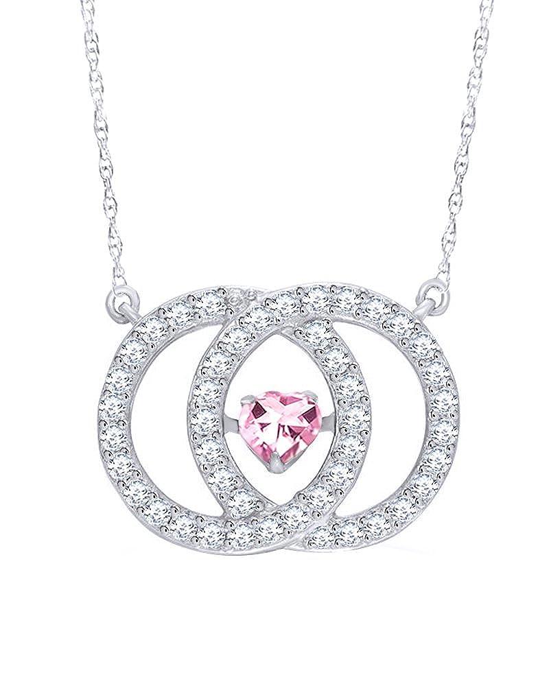 Wishrocks 14K White Gold Over Sterling Silver Interlocking Heart Circles Pendant Necklace