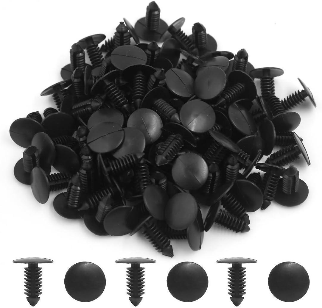 100Pcs 8mm Hole Plastic Rivets Fastener Push Clips Black for Car Auto Fender HOT