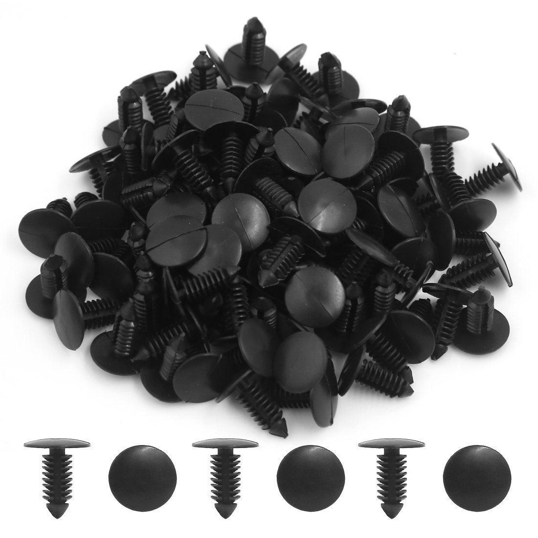 MANSHU 200 Pcs Car Plastic Trim Boot Rivets Push Clip Fastener, 6.4mm Hole Push Retainer Bumper Fender Shield Clips, Automotive Plastic Push Pins Bumper Clips, Car Plastic Rivets Retainers Screw.