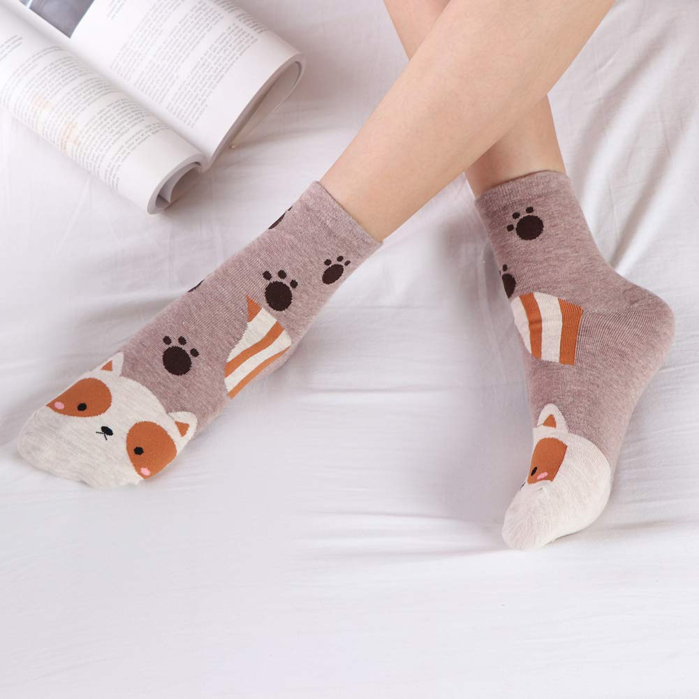 Casual Cute Cartoon Socks 5 Pairs Novelty Cotton Funny Animal Crew Socks for Women and Girls