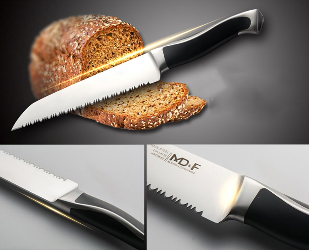 Serrated Bread Knife, High Carbon German Stainless Steel, Sharp Blade, Ergonomic Handle, Professional for Slicing Bread Cake Sandwich Tomato, 8 Inch 5 ★ ULTRA-SHARP EDGE ★It Is Manually Edged In V-Shape Through Quenching, Heat Treatment And Tempering To Ensure The Durable Sharpness ★ ERGONOMICALLY DESIGNED ★The Curved Handle Is Ergonomically Designed With 45 Degrees Polished Blade Back Offering Comfortable Control. The Blade And Handle Are Forged Together To Make A Safer, More Clean And More Durable Knife ★ NEATLY CUT ★ Serrated Blade, Neatly Cut, Nearly No Scum When Cut Bread