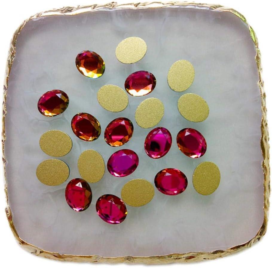 PENVEAT 30 Unids/Lote Nuevo Clavo Piedras del Strass Ovalado Espalda Plana Cristal Brillante 3D Strass Gema Piedra Manicura Nail Art Decoración Encantos Joyas, Arco Iris, 8x10mm 100pcs