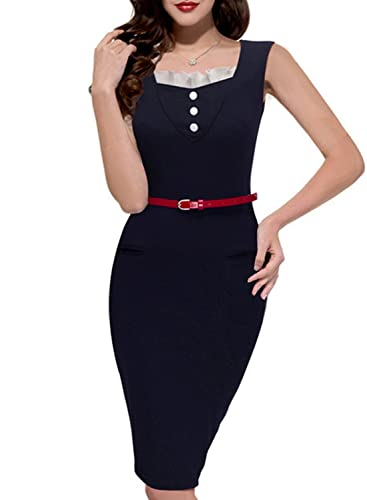 SYLVIEY Womens Elegant Sheath Sleeveless Chic Neck Business Pencil Dress