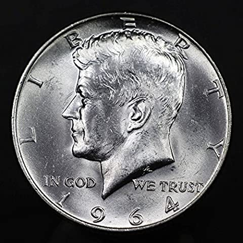 1964 U.S. Kennedy 90% Silver Half Dollar Coin, Mint State Condition - Dollar Coin