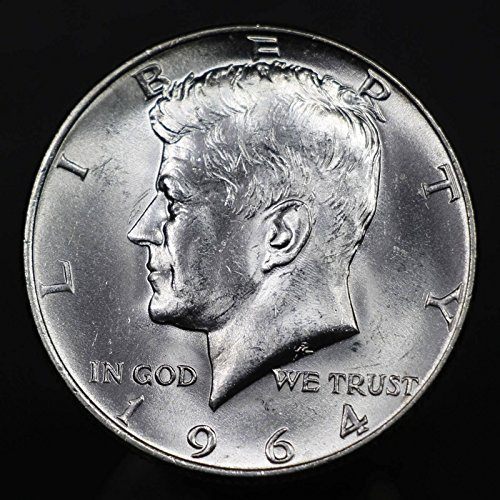 1964 U.S. Kennedy Half Dollar Coin, 90% Silver, Mint State Condition