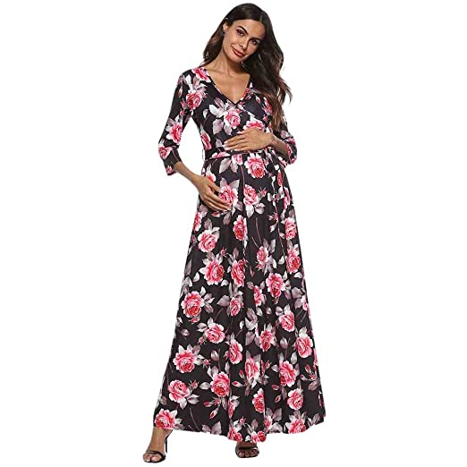 c49896ddb5242 Amazon.com: general3 Women's Maternity Maxi Dress Wraped V Neck Floral 3/4  Sleeve Nursing Breastfeeding Pregnancy Dress Photo Props Black: Clothing
