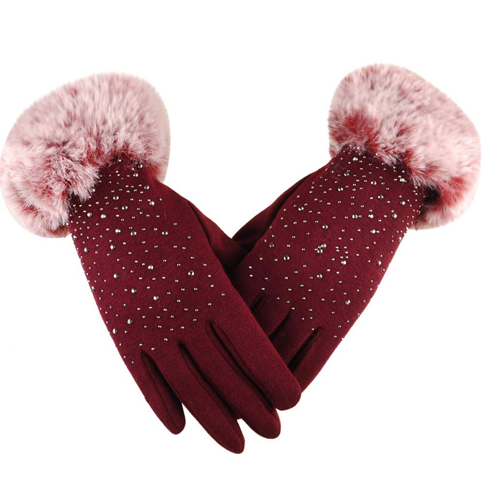 Tuu Touch Screen Gloves for Women Fashion Rhinestone Winter Warm Gloves Protect Hands (Red, Free size)