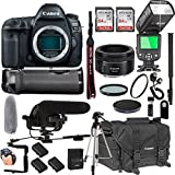 Canon EOS 5D Mark IV With 50mm f/1.8 STM Prime Lens + 128GB Memory + Canon Deluxe Camera Bag + Pro Battery Bundle + Power Grip + Microphone + TTL Speed Light + Pro Filters,(23pc Bundle)