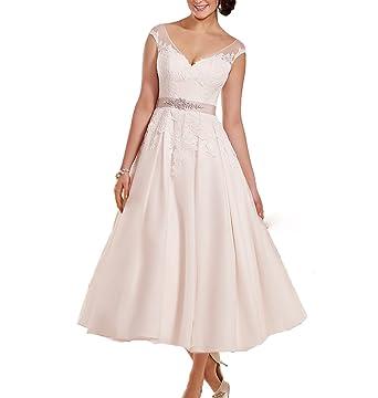 Fishlove Vintage Vestidos De Novia Tea Length Rustic Lace Bridal Gowns For Bride W30