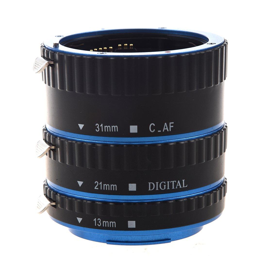 TOOGOO(R)Tubo di prolunga automatico per Canon EOS EF/AF - Set di tre tubi di prolunga Auto Focus: 13 mm, 21 mm, 31 mm, compatibili con Canon EF/EF-S (blu e nero) SODIAL(R) 050885