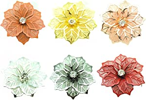 Faruxue Metal Flower Napkin Rings Set of 6, Sparkly Napkin Holders, Household Floral Napkins Rings, Fashion Durable, Perfect for Western Restaurant, Valentine, Weddings, Thanksgiving, Parties Decor