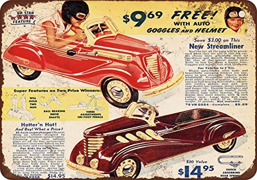- 1937 Streamliner Pedal Cars Vintage Look Reproduction Metal Tin Sign 8X12 Inches