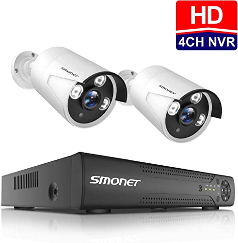 4CH Expandable HD Outdoor Surveillance Camera System,SMONET 4CH 1080N Security Camera System DVR System ,2pcs HD CCTV Cameras,Home Security Camera System for Outdoor and Indoor Use, NO Hard Drive