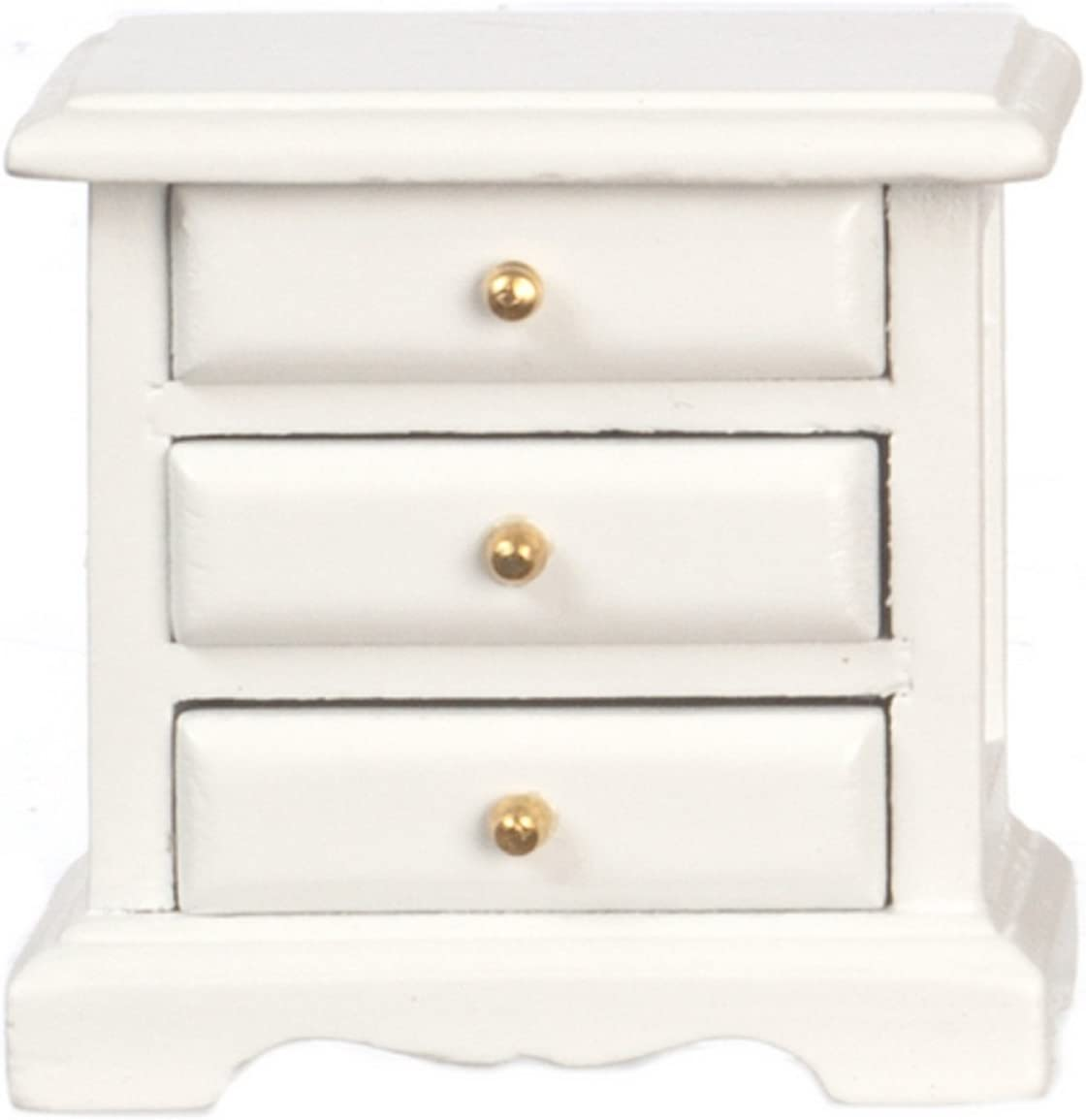 Melody Jane Dollhouse White Bedside 3 Drawer Chest Nightstand Miniature Bedroom Furniture