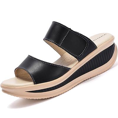 SHAKE Women's Platform Heeled Wedges Sandals Shape Ups Leather Comfort Peep Toe Walking Shoes For Women