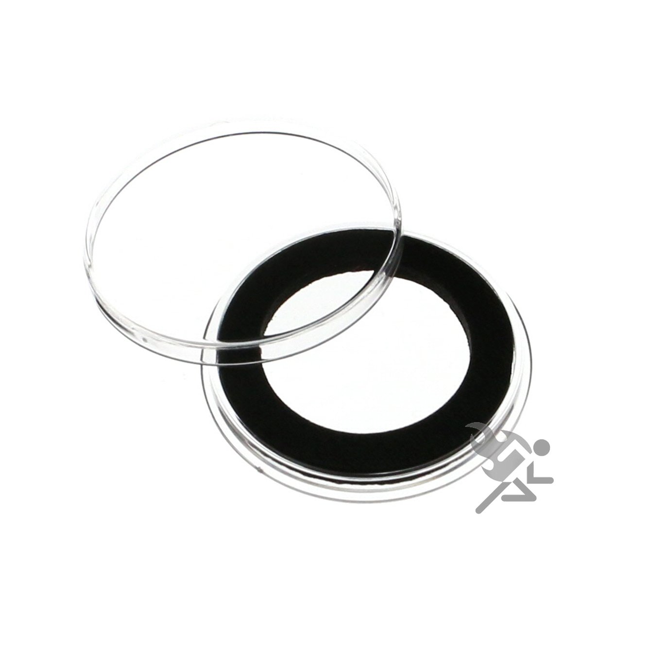 100 AIRTITE COIN HOLDER CAPSULE BLACK RING 28 MM