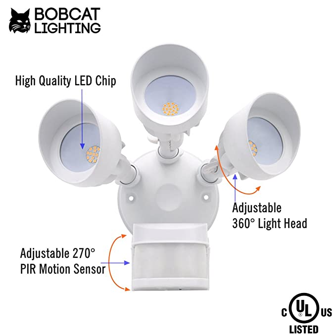 Bobcat LED Flood Lights 36 Watts 270 deg Motion Activated Outdoor Security  Lights Three Head 3000 lumens 5000K White