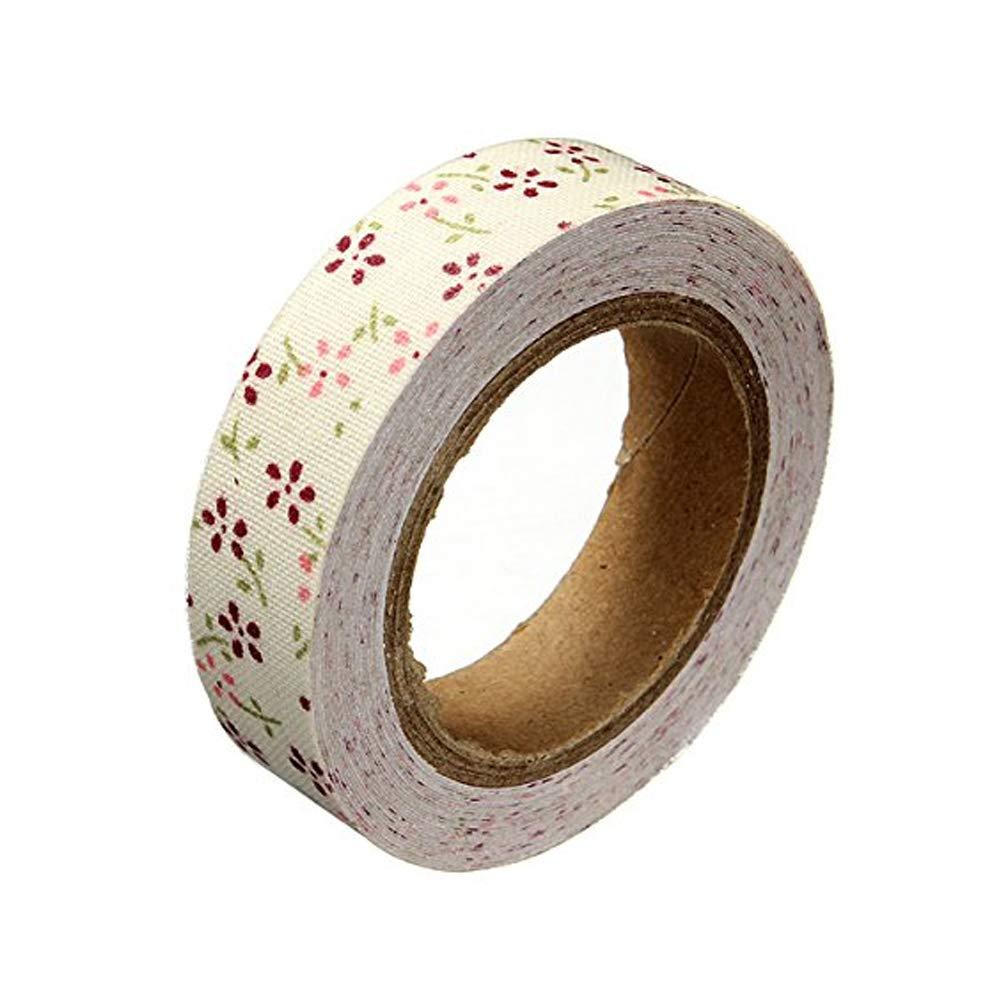 Rrunzfon Souked Fabric Washi Tape Roll Decorative Sticky Cotton Adhesive Craft Stationery & Office Supplies