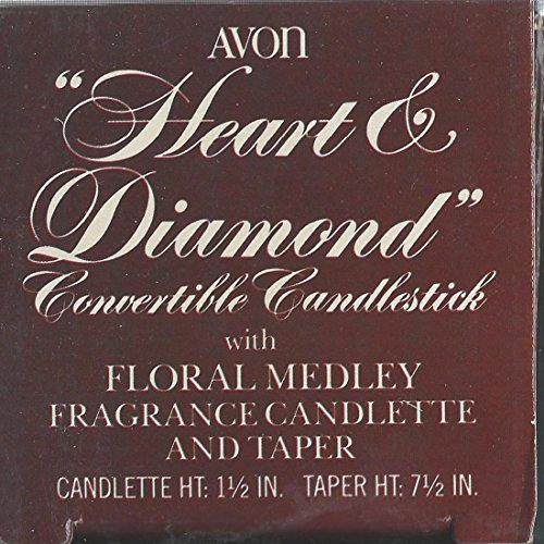 Vintage Avon Heart And Diamond Convertible Candlestick With Floral Medley Fragrance Candlette And Taper