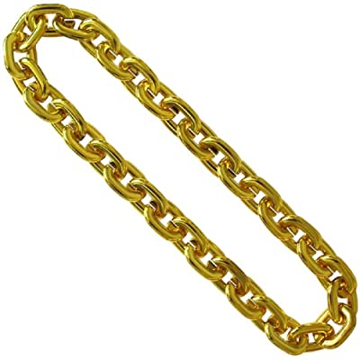 "36"" Gold Jumbo Chain Link Beads Bling: Clothing"