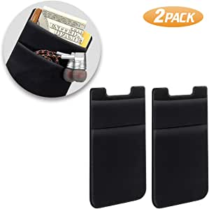 SHANSHUI Phone Card Holder, Double Slots Secure Lycra Spandex Slim Adhesive Stretchy Credit Card Holder Case Stick On Pouch for Smart Phones (Black) - 2 Packs