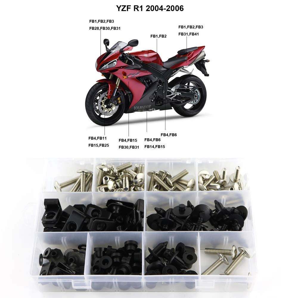Matte Black for Yamaha YZF-R1 2004-2006 Mounting Kits Washers//Nuts//Fastenings//Clips//Grommets Xitomer Full Sets Fairing Bolts Kits