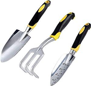 Xiran Gardening Set Gift kit, Family Garden Tool Set, Three cast Aluminum Gardening Set. Black/Yellow