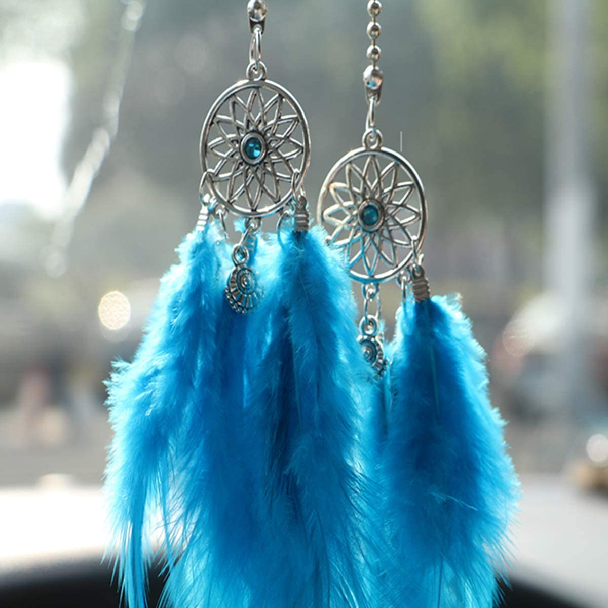Car Rear View Mirror Hanging Pendant Feather Dream Catcher Crystal Charm Bling Car Deco Accessories for Women Red