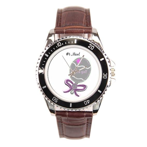 Ser un hombre acero inoxidable reloj pulsera plata y rosa bebé sonajero sonajero número uno mamá