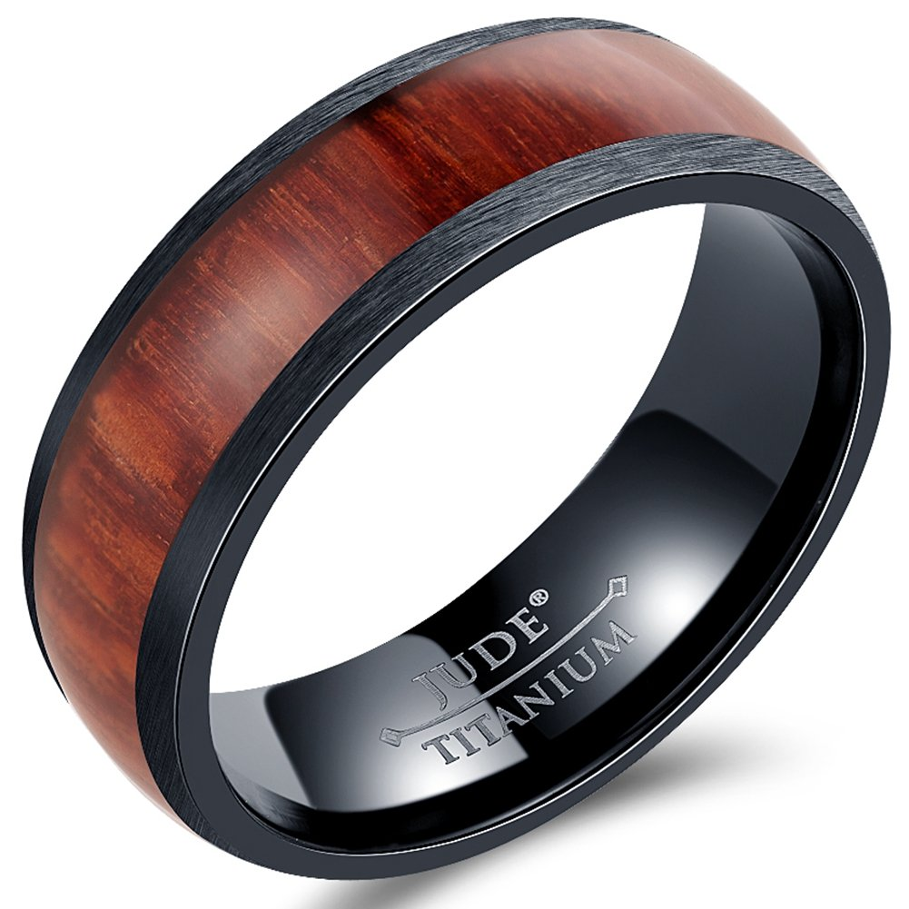 Jude Jewelers 8mm Black Titanium Wood Domed Band Style Ring Wedding Anniversary Statement Promise (10)