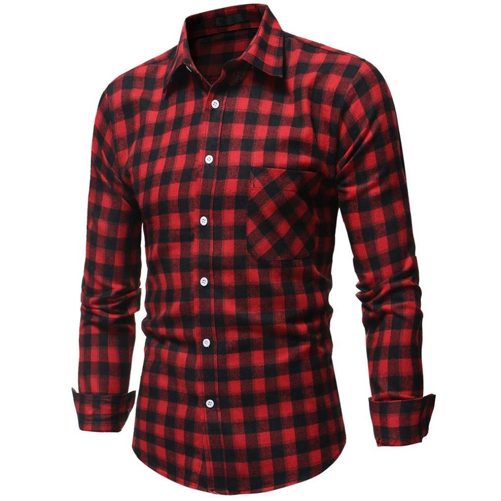 Ximandi Autumn Spring Mens Plaid Casual Shirts Long Sleeve 100% Cotton Retro Style