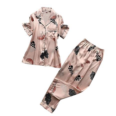 Witsaye Camisas de noche para mujer Topgrowth Pijama de satén seda ...