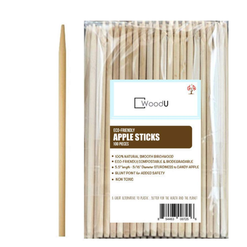 "Caramel Candy Apple Sticks, Natural Heavy Birch Wood Skewer 100pc, Blunt Point 5.5"" x 3/16'' Diameter Sturdiness to Handle Candy Apples, Eco Friendly Sticks Perfect for Corn Hot Dog as well"