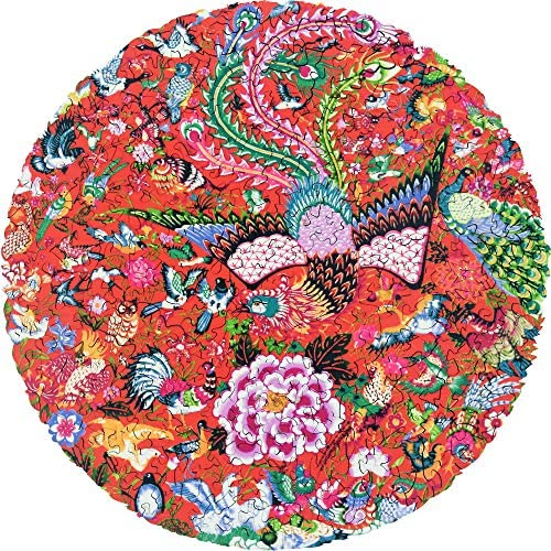 Hartmaze Wooden Jigsaw Puzzles-Hundred Birds Paying Homage to The Phoenix 253 Truly Unique Piece Round Shape Best Choice for Adults and 14 Ages up Teens.