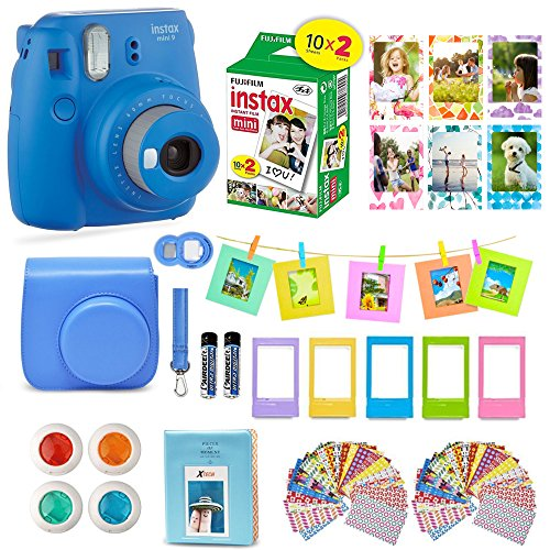 Fujifilm Instax Mini 9 Camera COBALT BLUE Camera + 20 Instant Fuji-Film Shots, Instax Case + 14 PC Instax Accessories Bundle, Fuji Mini 9 Kit Gift, Albums, Lenses, 60 Stickers + Frames by Shutter from Shutter