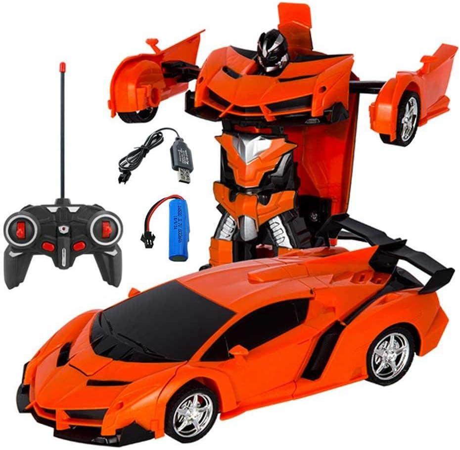 Volwco Coche de deformación a Control Remoto Modelo 1:18, Robot con deformación de un botón y Luces LED de Sonido de música, Regalo Maravilloso para niños y Adolescentes