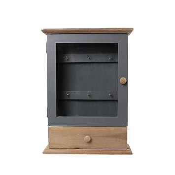 BAKAJI Caja Llavero con cajón 20 x 7 x 28 cm de Madera DM ...