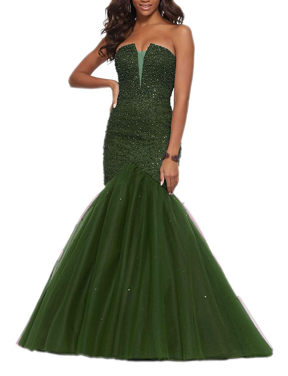 Green 2 Wanshaqin Women's Lace Appliques Wedding Dress Ball Gown Evening Prom Dress Long Beading Sequined Dresses