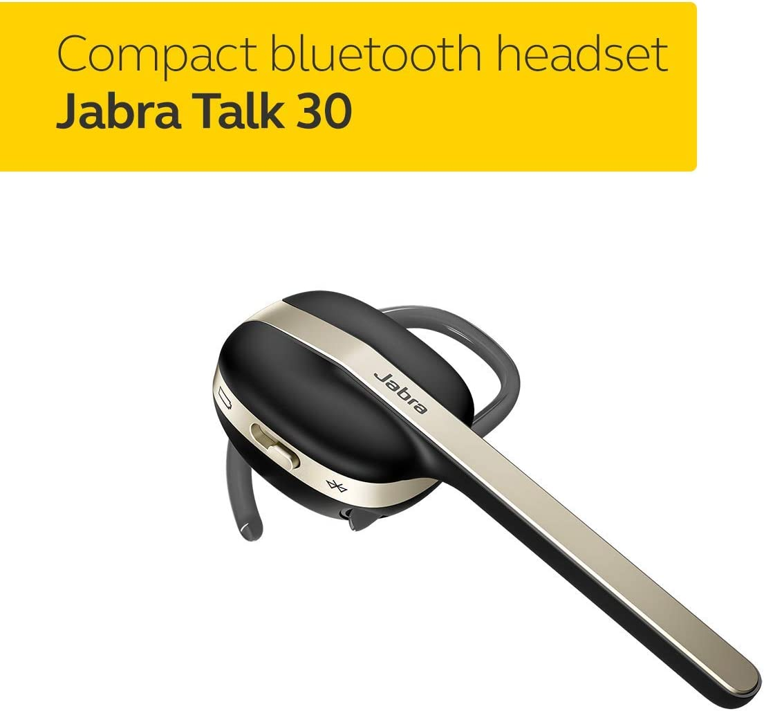 Jabra Talk 30 Bluetooth Headset for High Definition Hands-Free Calls in a Stylish Design and Streaming Multimedia